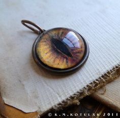 Iris Charm  Fox / Lynx / Large  Brass Eye Pendant by Hibernacula, $26.00