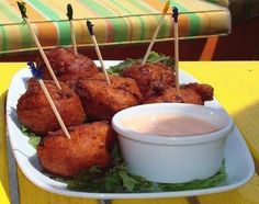Conch Fritters - brings back memories of Key West! Conch Fritters Recipe Key West, Appetizer Recipes, Snack Recipes, Appetizers, Snacks, Yummy Recipes, Bahamian Food, Good Food, Yummy Food
