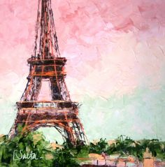 Eiffel Tower, original painting by artist Leslie Saeta | DailyPainters.com