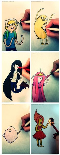 playing with AT characters (by melspontaneus)… Finn The Human, Jake The Dog, Marceline The Vampire Queen, Princess Bubblegum, Lumpy Space Princess and The Flame Princess. #doodling #AdventureTime #CartoonNetwork