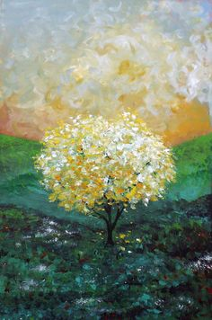 "Where it Begins - Yellow Tree- Green Hillside- Blue Sky with Clouds- Golden Sky-  Field of flowers- Art Print of Original Painting 8x10"". $14.00, via Etsy."