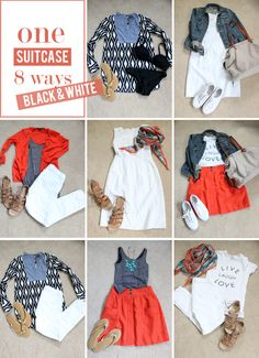 Capsule wardrobe packing - black, white, denim and pop of color