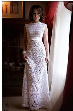 Crochet pattern for a wedding dress. Now this is one way to save! Imagine making your own dress in which to walk down the aisle...or just to wear around.