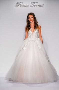 V-Neck Princess/Ball Gown Wedding Dress  with Natural Waist in Tulle. Bridal Gown Style Number:33267394