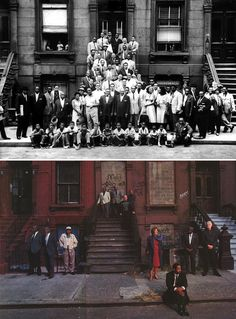 A Great Day in Harlem – Art Kane, 1958  A Great Day in Harlem Survivors – Gordon Parks*, 1996