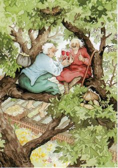 """Finnish illustrator Inge Look has created her two hilarious grannies, painted frequently in absurd but funny situations. Image Originale, Look Older, Whimsical Art, Oeuvre D'art, Old Women, Old Ladies, Lucky Ladies, My Best Friend, Illustrators"