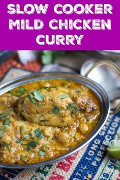 A super easy slow cooker mild chicken curry recipe with coconut milk crammed with chickpeas and lentils that needs nothing more than a bowl of steaming white rice to complete the meal. Gluten free and dairy free it is perfect for the whole family. Mild Chicken Curry Recipe, Leftover Chicken Curry, Chicken Lentil, Slow Cooker Chicken Curry, Slow Cooker Recipes, Crockpot Recipes, Cooking Recipes, Cooking Dishes, Oven Recipes