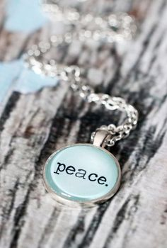Peace Necklace. Pastel blue