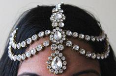 Handmade Kundan kamieni włosów Grecki styl głowy głowy łańcucha łańcucha biżuteria