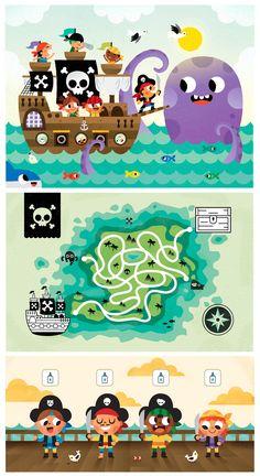 "Character design and Illustrations for ""Súper Valijita"" Kids Magazine. Pirates issue."