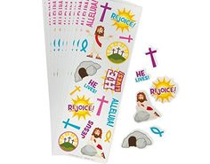 24 Small He Lives Christian Sticker Sheets - Kids Easter Crafts