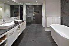 39 dark grey bathroom floor tiles ideas and picturesis free HD Wallpaper. Thanks for you visiting 39 dark grey bathroom floor tiles ideas an. Grey Bathroom Floor, Gray And White Bathroom, White Bathroom Tiles, Bathroom Flooring, Small Bathroom, Gray Floor, Modern Bathroom, Master Bathroom, Charcoal Bathroom