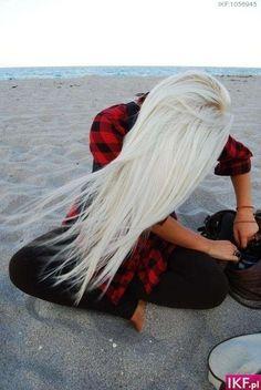 Really platnium blonde long hair.