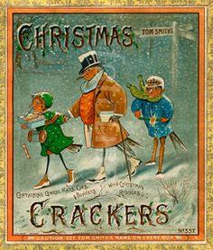 Box lid Victorian Christmas crackers (Printed lid of a box of Victorian Christmas crackers made in great Britain by Tom Smith's and Co....)