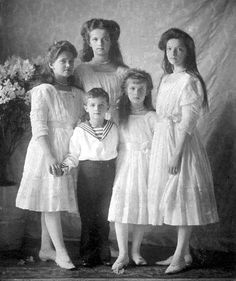 Tsar Nicholas Romanov's children, 1910. Olga Nikolaevna Tatiana Nikolaevna Maria Nikolaevna Anastasia Nikolaevna Alexei Nikolaevna