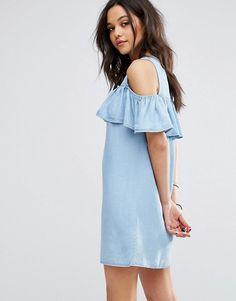 Pimkie   Pimkie Exposed Shoulder Frill Front Denim Dress