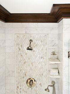 Shower Tile inset. Handheld shower-great for dog bathing. More shelves needed