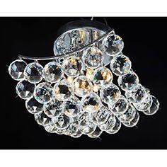 Indoor 4-Light Chrome And Crystal Flushmount Chandelier - kitchen!