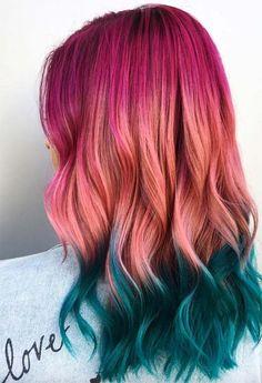 55 Glorious Sunset Hair Color Ideas for True Romantics summer hair inspiration, summer haircolor, su Hair Color Shades, Cool Hair Color, Hair Colour, Creative Hair Color, Creative Makeup, Green Hair, Pink Hair, Blue Hair, Summer Hairstyles