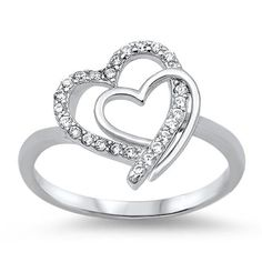 0.40 Carat Round White Topaz Diamond CZ Cute Swirl Double Heart Ring Solid 925 Sterling Silver Heart Ring Valentines Gift Love Gift Heart