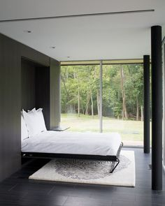 A Murphy bed folds up into the wall when not in use, opening up the