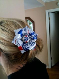 PBR PABST BLUE Ribbon beer can tin flower hair by ClassyNTrashy, $13.00