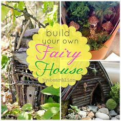 Build Your Own Fairy House by bear & lion mama maybe the children would enjoy creating more houses for the invite table