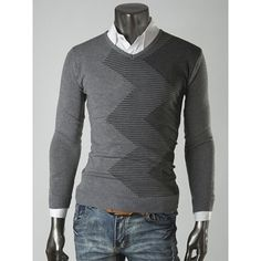 Casual Style Slimming Long Sleeves V-Neck Waving Print Color Splicing Cotton Blend Sweater For Men
