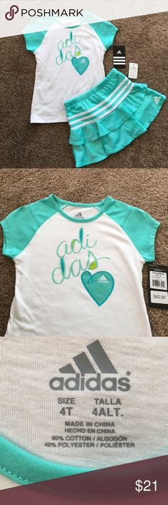🎉HP 2/19🎉 Adidas Girls 2 Piece Skort Set New with tags - Adidas short sleeve top and skort set. Beautiful mint green/white color and heart logo make this sporty outfit so cute and feminine. Size 4T. See pics for fabric content. Perfect condition. Retails at $42. Adidas Matching Sets