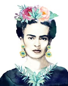 Frida kahlo watercolor flowers printable Although I wish they kept her facial hair, she would have wanted that Diego Rivera, Watercolor Art Diy, Watercolor Flowers, Art Fauvisme, Fridah Kahlo, Frida Paintings, Buch Design, Frida Art, Mexican Artists