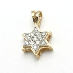 14k Yellow & White gold Diamond Jewish Star of David Pendant Small