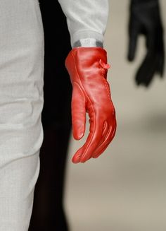 Red leather gloves @ Argande A/W 2013 #MBFWI