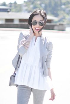 A relaxed peplum is laid back chic. Anh of blog 9 to 5 Chic in the Matte Poplin top