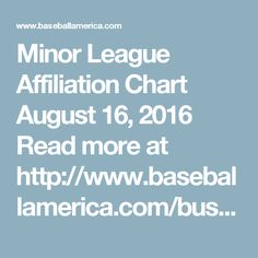 Minor League Affiliation Chart  August 16, 2016   Read more at http://www.baseballamerica.com/business/minor-league-affiliation-chart/#3R5ltFg0Vdj9XUxH.99