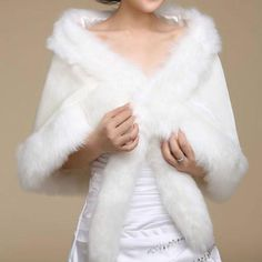 chic Hot Sole bridal ivory / white faux fur shawl wedding bridal wrap cape shawl