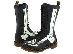 Glow-In-The-Dark Skeleton Combat Boots