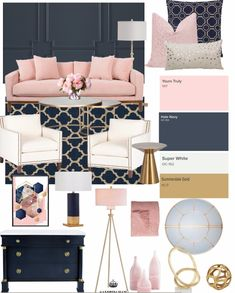 Create the Look Glam Navy 038 Pink Living Room Create the Look Glam Navy 038 Pink Living Room Bindi Patel cushylife Living room One of my favorite color nbsp hellip Blue And Pink Living Room, Blush Living Room, Navy Living Rooms, Home Living Room, Pink Room, Navy Blue Rooms, Blue And Gold Bedroom, Blush Bedroom, Living Room Color Schemes