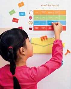 Magnetic Lunch Chart DIY printable via Martha Stewart Kids.  Kids get to plan their lunch that week.