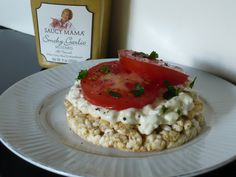 Smoky Garlic Mustard Cottage Cheese and Tomato Rice Cake Stacks (low calorie) from My Kitchen Creations to You #SkinnyMama. Visit www.barhyte.com
