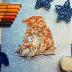 "Finished work by pattern ""Kitten with a boat"" #sa_stitch #sa_pattern #pattern #crossstitch"