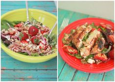 Strawberry Feta Salad with Optional Balsamic-Basil Grilled Chicken -I WOULD use goat cheese instead!