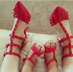 Valentino Red Studded Pumps #socute #mommyandme