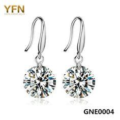 8030207315b0 GNE0004 2016 Brincos Genuine 925 Sterling Silver Drop Earrings Wholesale 8MM  Cubic Zirconia Earrings Fashion Jewelry
