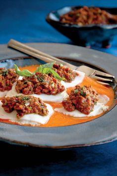 Turnip Ravioli with Cashew Cheese Filling, Pepper Puree and Marinara (raw food movement?)
