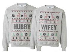 hubby wifey couple sweatshirts for christmas. Ugly Christmas Sweater set