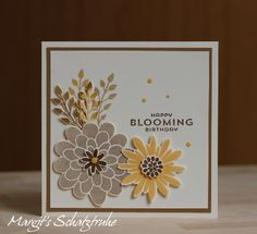 "HAPPY BLOOMING BIRTHDAY - MIT ""FLOWER PATCH"" VON STAMPIN UP, Flower Fair framelits, photopolymer"