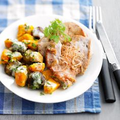 Veal Cutlet with Oven-Baked Carrots -- Roasting the carrots brings out their natural sweetness, making them much easier to clean from your plate. A little dash of curry powders gives them a zing. #myplate #protein #vegetables
