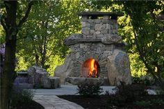 Unique Stone Fireplace  Outdoor Fireplace  Landscape Aesthetics  Bernardsville, NJ