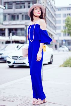 Blue off-shoulder jumpsuit Zara. Pink mules Zara. Pink bow hat I am. Pink clutch by Dune. The Fashion Rose http://www.thefashionrose.com/2016/06/blue-jumpsuit-and-accessories-in-rose-quartz.html
