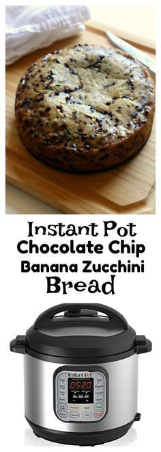 Instant Pot Chocolate Chip Zucchini Banana Bread–a moist quick bread (cake?) that is a cross between banana and zucchini bread. The bonus is that it's got mini chocolate chips too and it's made in your electric pressure cooker.